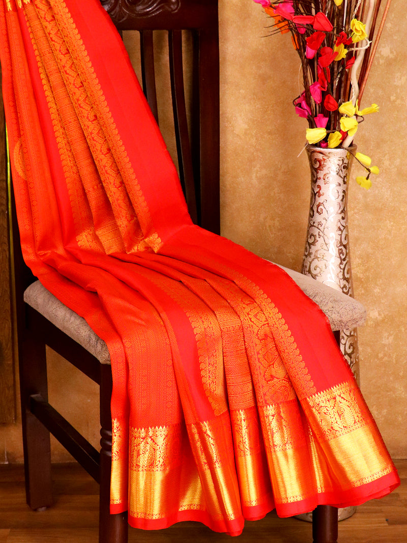 Bridal Kanjivaram Pure Silk Saree red with self emboss and traditional zari border