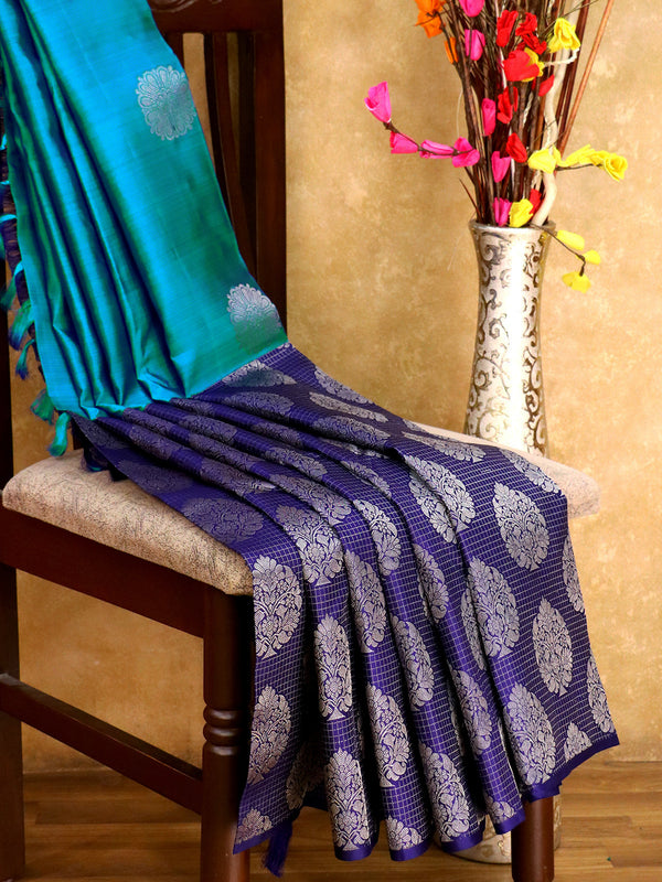 Bridal Kanjivaram Pure Silk Saree peacock blue and navy blue with silver zari floral buttas and check border in half and half style