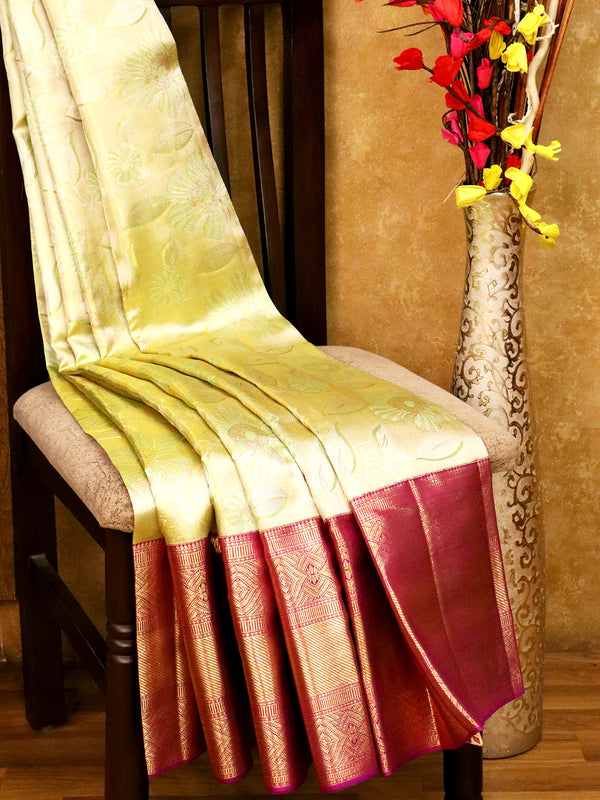 Bridal Kanjivaram Pure Silk Saree dual shade of mild green and violet with allover silver zari floral buttas and golden zari border