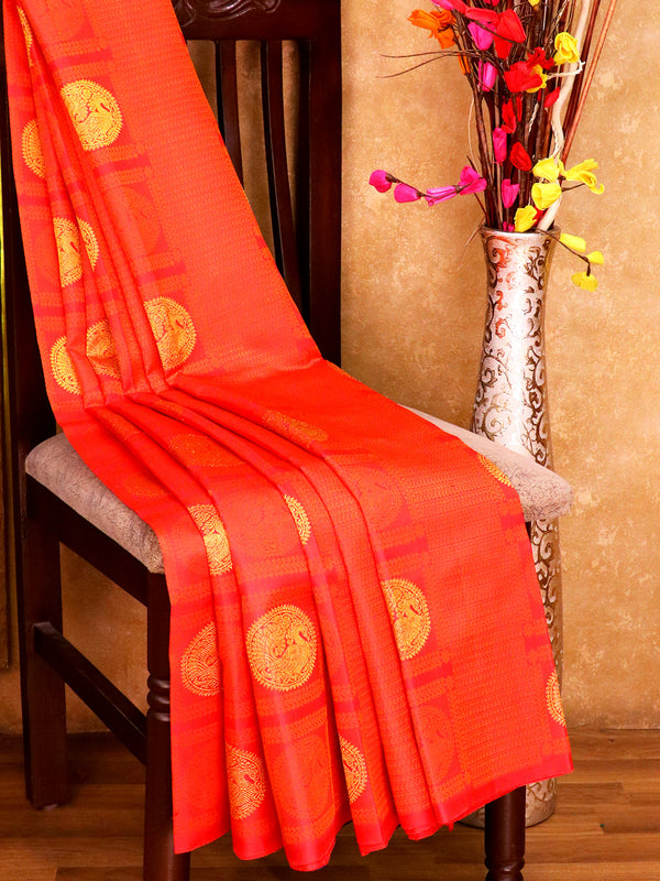 Bridal Kanjivaram Pure Silk Saree tomato red and blue with allover self emboss peacock buttas and border