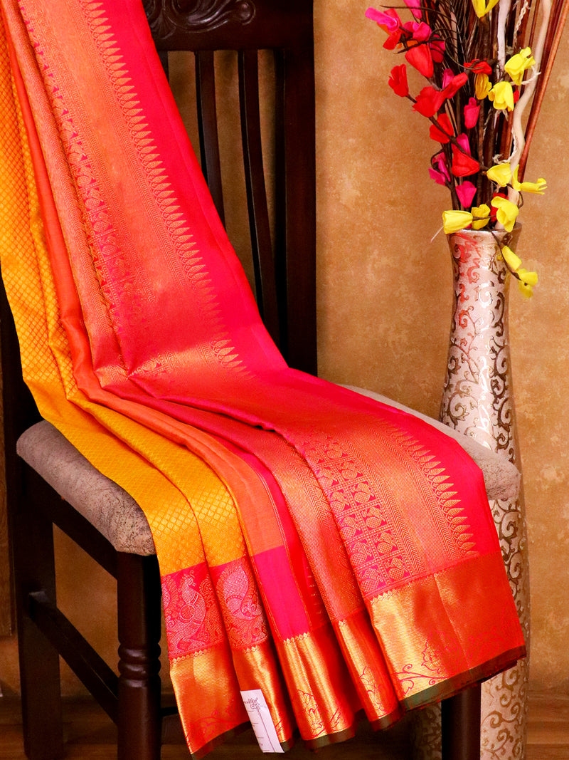 Bridal Kanjivaram Pure Silk Saree mustard yellow and pink with allover brocade zari buttas and golden zari peacock border