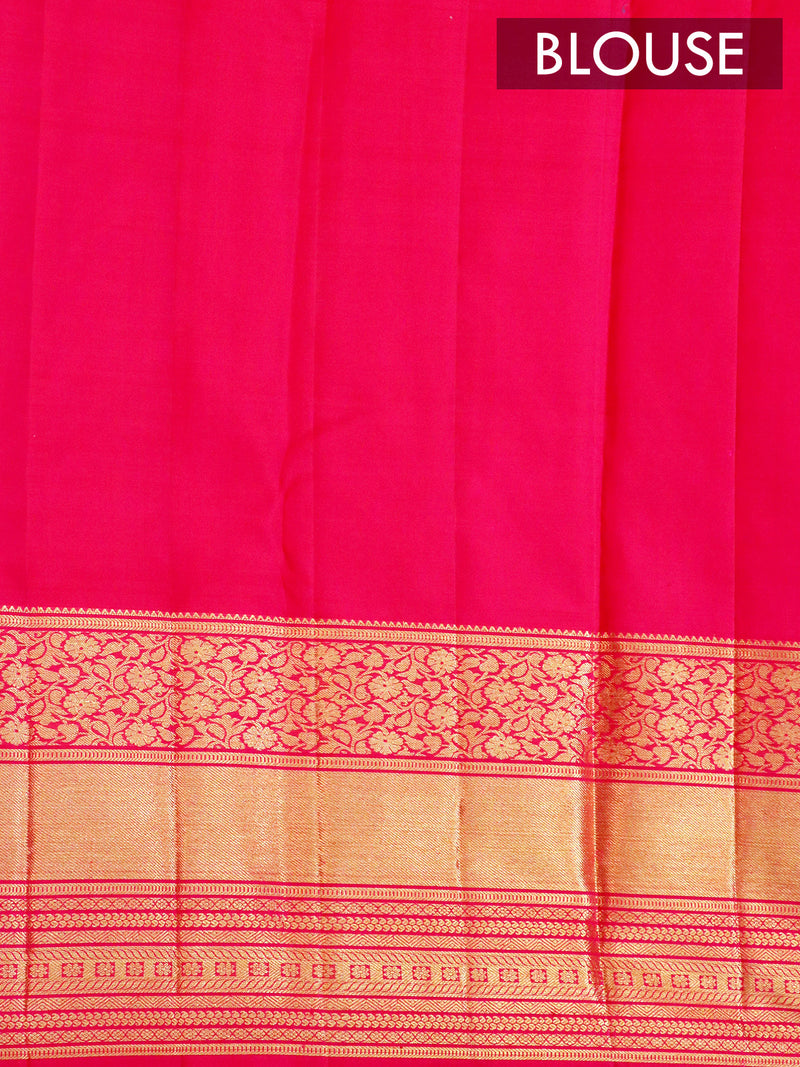 Bridal Kanjivaram Pure Silk Saree dual shade of beige and magenta pink with allover silver zari buttas and floral golden zari border