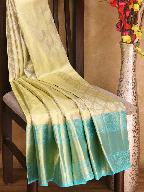Bridal Kanjivaram Pure Silk Saree golden tissue and teal blue with allover thread woven buttas and paisley border
