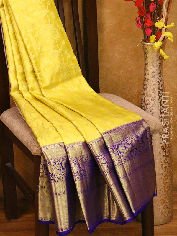 Bridal Kanjivaram Pure Silk Saree yellow tissue and violet with allover floral self emboss and long annam border