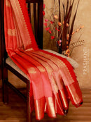 Bridal Kanjivaram Pure Silk Saree red and orange with self emboss zari buttas and traditional zari border