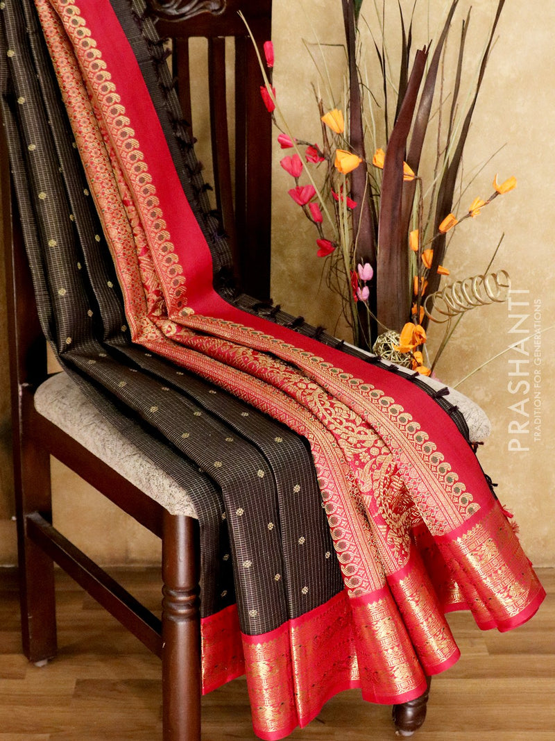 Bridal Kanjivaram Pure Silk Saree coffee brown and maroon with zari checked buttas and korvai zari woven border