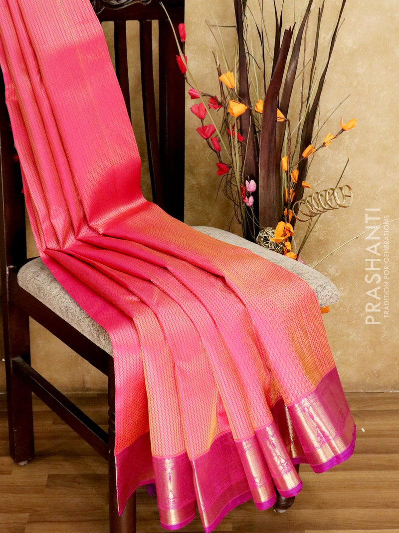 Bridal Kanjivaram Pure Silk Saree pink and magenta with self emboss and lotus zari border