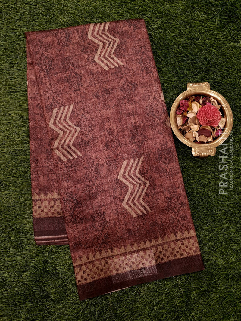 Bhagalpuri printed saree brown with allover prints