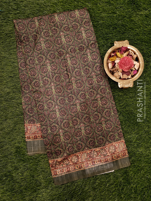 Bhagalpuri printed saree green with kalamkari prints
