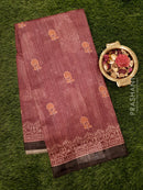 Bhagalpuri printed saree grape wine and sap green with floral prints