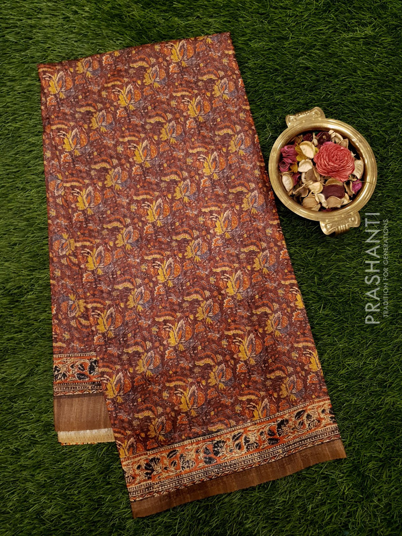 Bhagalpuri printed saree brown with kalamkari prints
