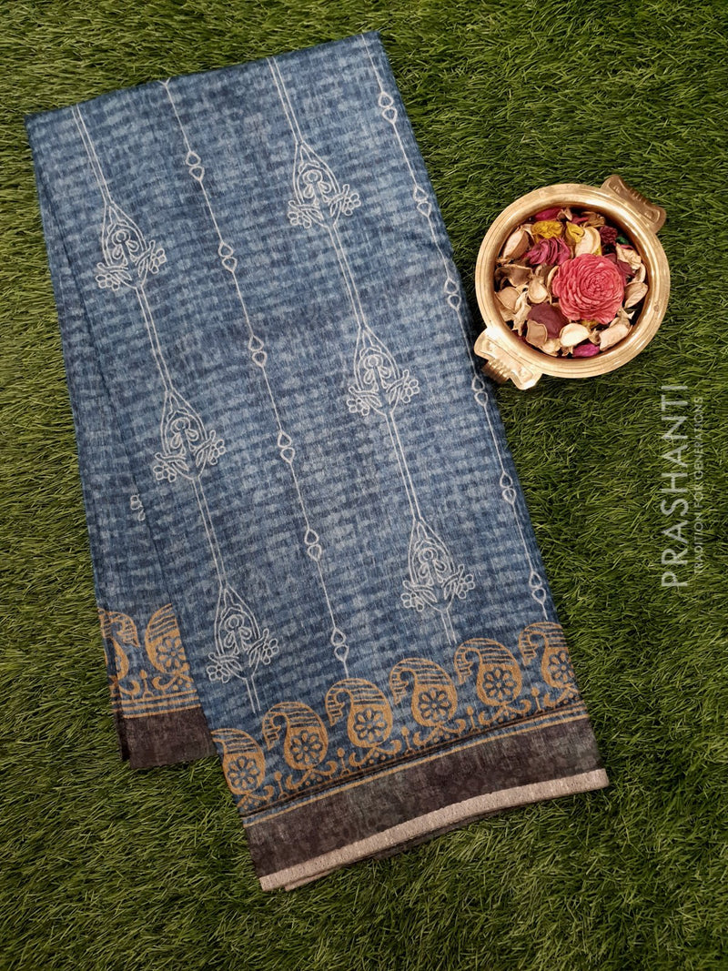 Bhagalpuri printed saree peacock blue with digital prints and paisley borders