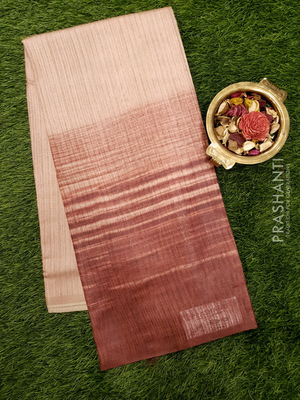 Bhagalpuri printed saree pale brown and rustic red with simple stripe prints