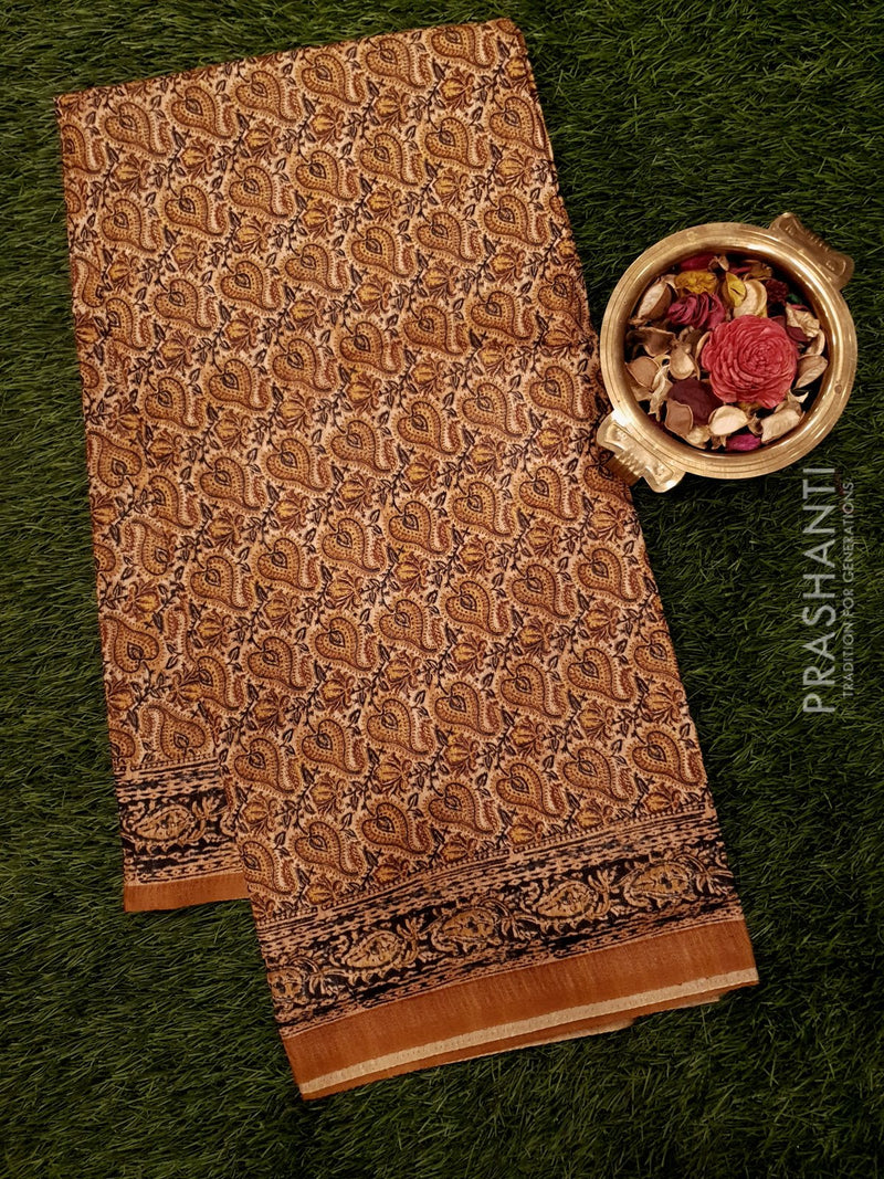 Bhagalpuri printed saree mild brown with kalamkari prints
