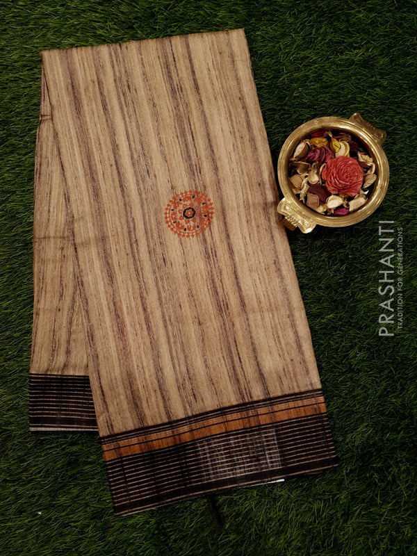 Bhagalpuri printed saree beige and brown with floral prints