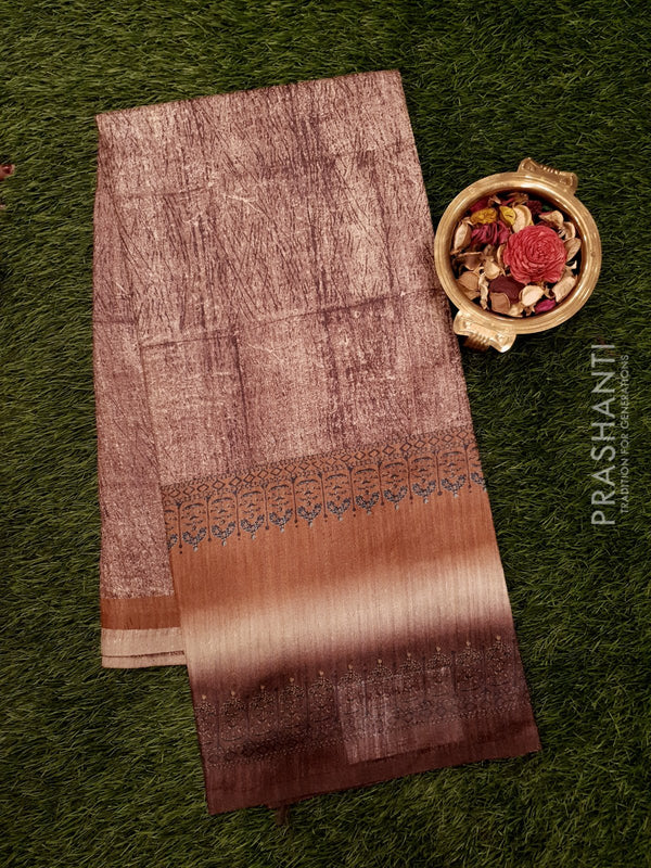 Bhagalpuri printed saree brown shade with simple stripe prints