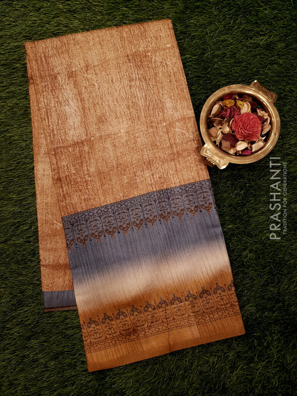 Bhagalpuri printed saree mustard with simple stripe prints