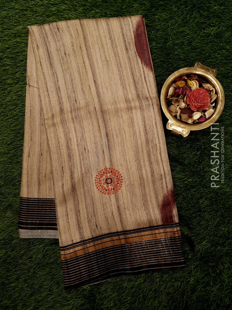 Bhagalpuri printed saree beige and black with allover stripes and floral prints