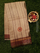 Bhagalpuri printed saree beige and mild green with allover stripes and floral prints
