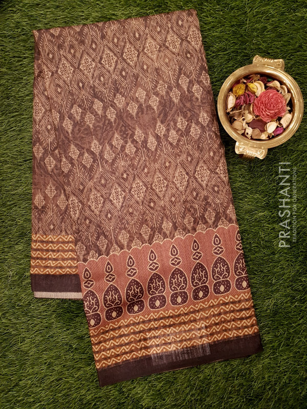 Bhagalpuri printed saree brown with allover digital prints