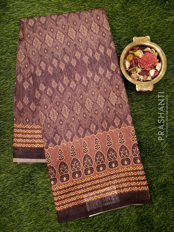 Bhagalpuri printed saree grape wine shade with allover digital prints