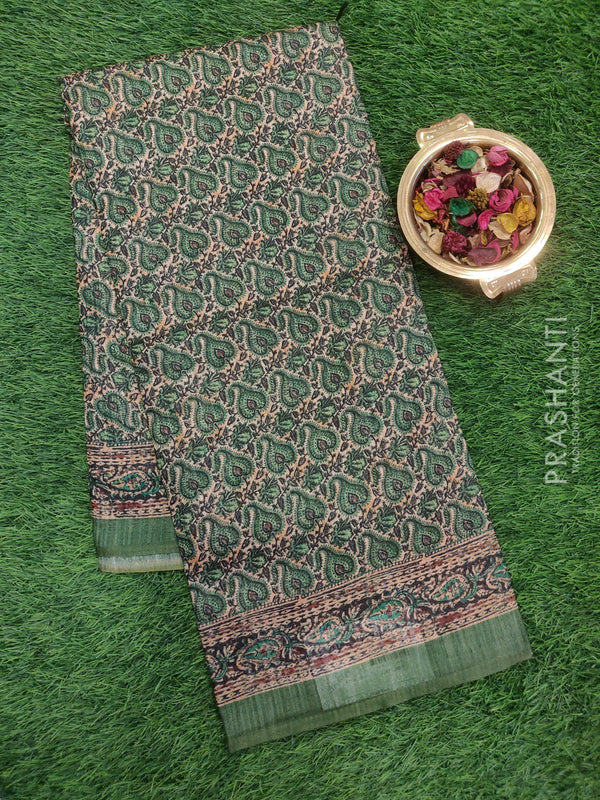 Bhagalpuri printed saree green and beige with all over digital print