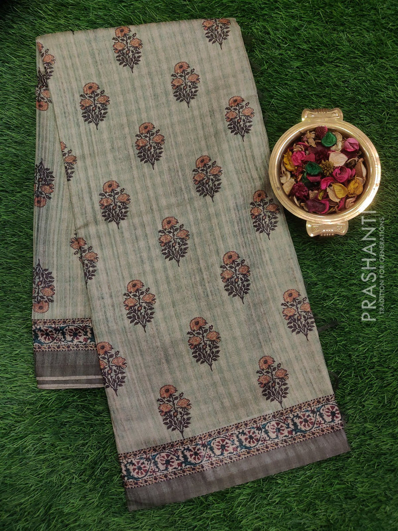 Bhagalpuri printed saree pastel green with floral digital prints
