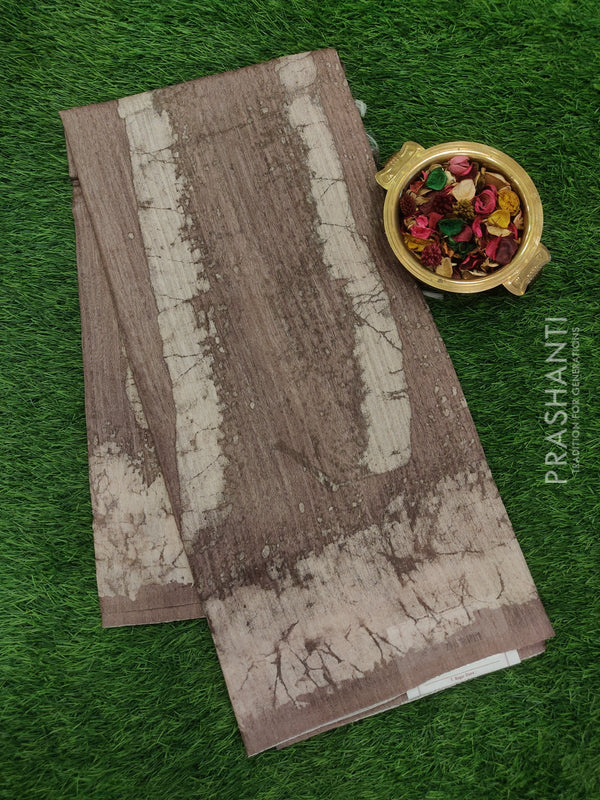 Bhagalpuri printed saree beige and grey  with digital prints
