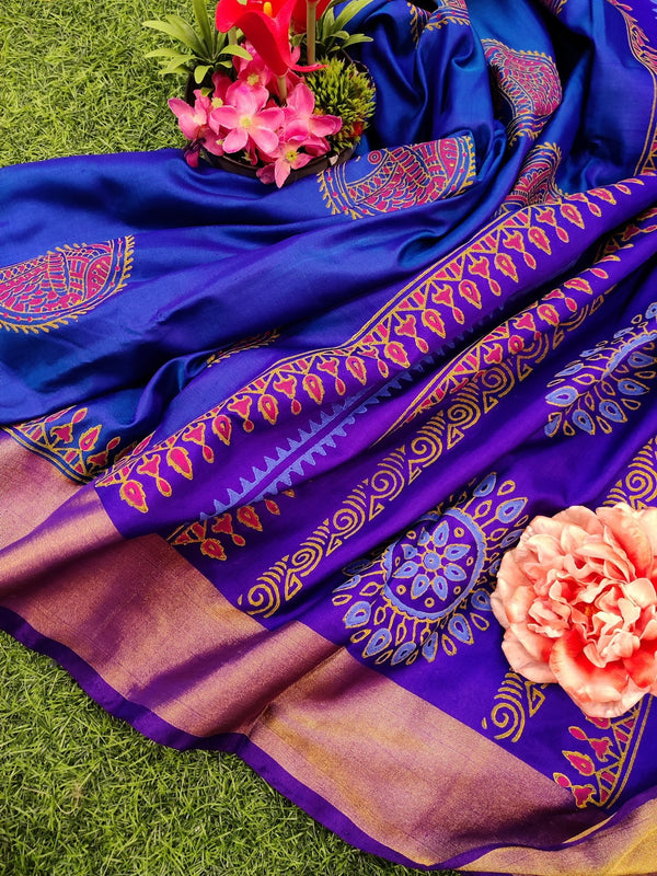 Pure Uppada printed silk saree blue and violet with fish prints and zari border