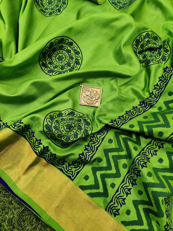 Pure Uppada printed partly silk saree light green and royal blue with circle prints and zari border