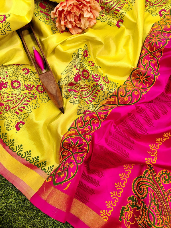 Pure Uppada printed silk saree lime yellow and pink with peacock prints and zari border