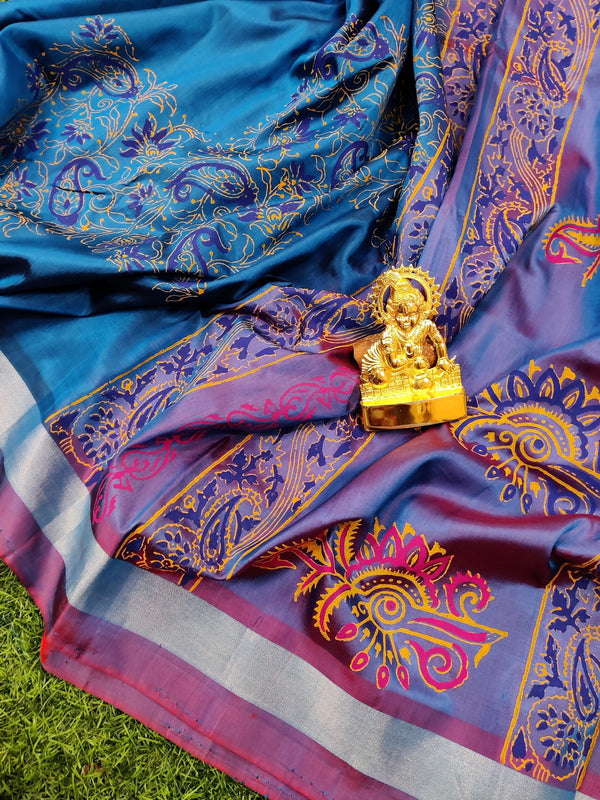 Pure Uppada printed silk saree blue and dual shade of blue red with floral prints and silver zari border