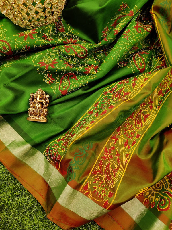 Pure Uppada printed silk saree green and dual shade of green red with floral prints and silver zari border