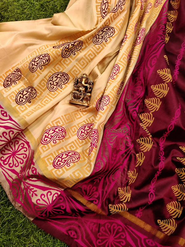 Pure Uppada printed silk saree cream and coffee brown with paisley prints and printed border