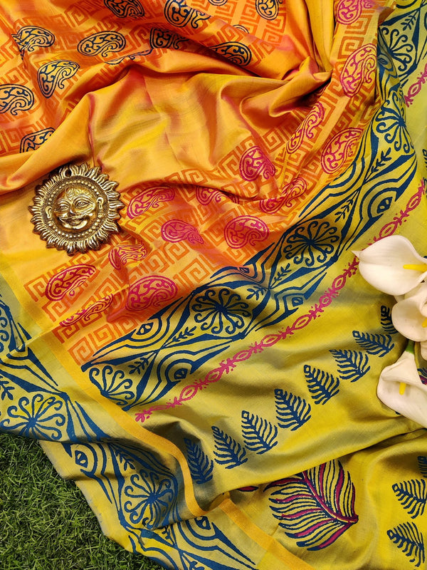 Pure Uppada printed silk saree dual shade of mild orange and lime green with paisley prints and printed border