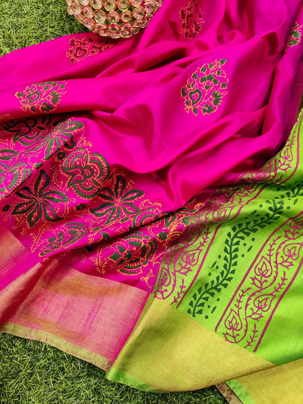 Pure Uppada printed silk saree pink and green with floral prints and zari border