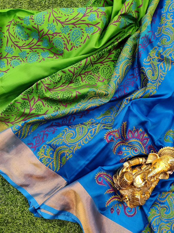 Pure Uppada printed silk saree green and blue with floral prints and zari border