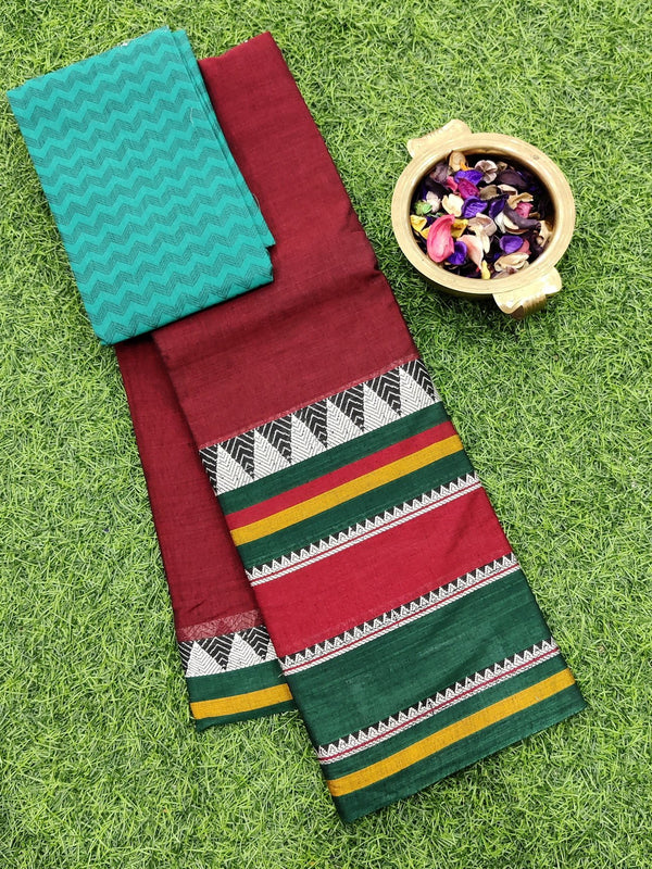 Narayanpet cotton saree maroon and green with cotton blouse