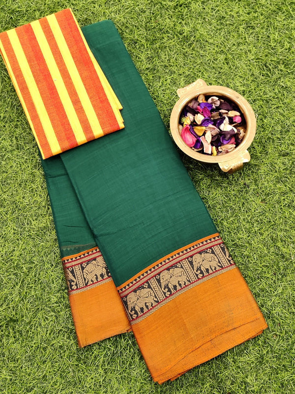 Narayanpet cotton saree green and honey with cotton blouse