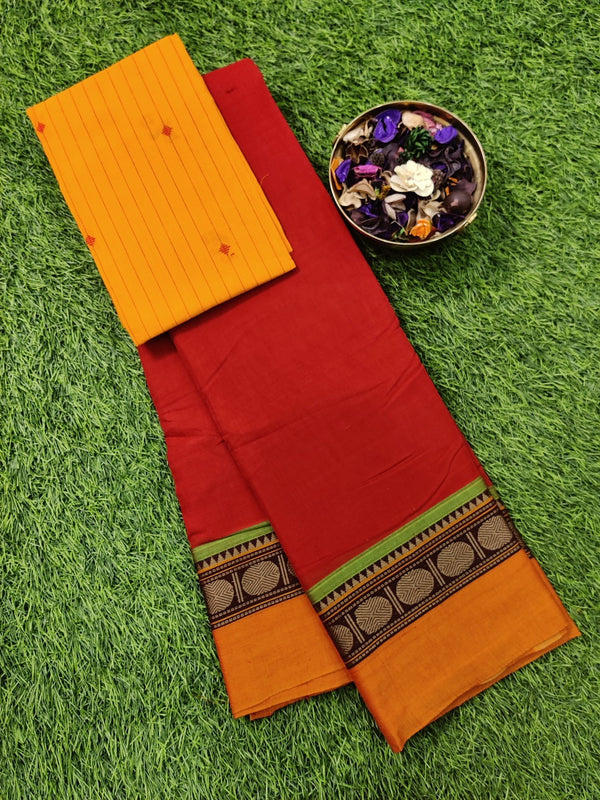 Narayanpet cotton saree red and orange with cotton blouse