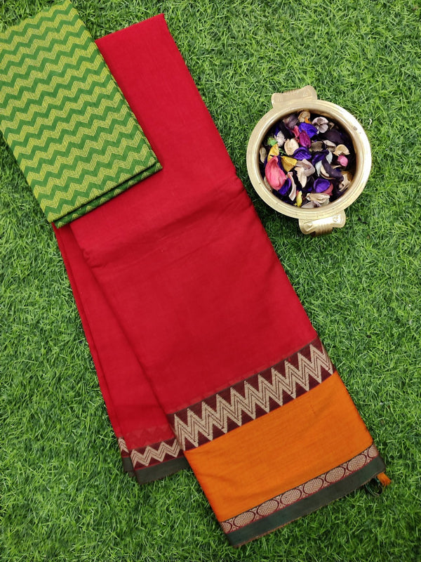 Narayanpet cotton saree red and brick orange with cotton blouse
