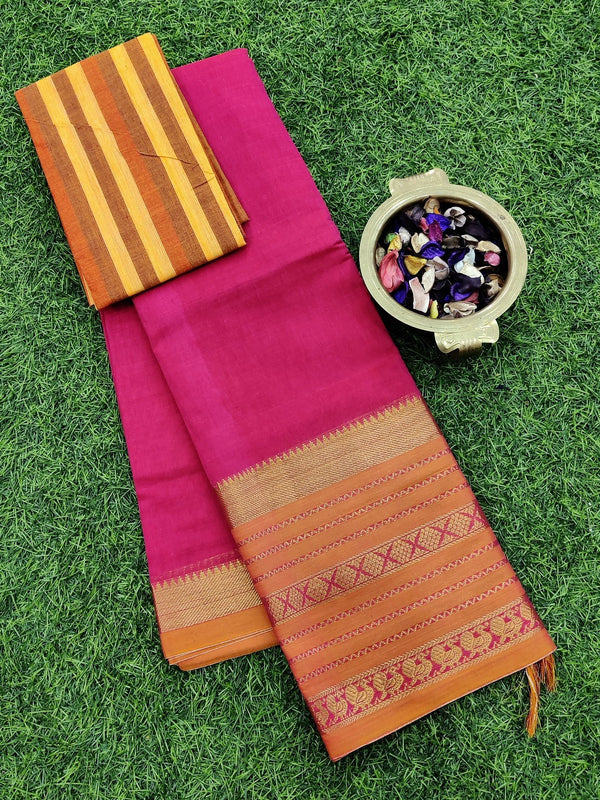 Narayanpet cotton saree pink and brick orange with cotton blouse
