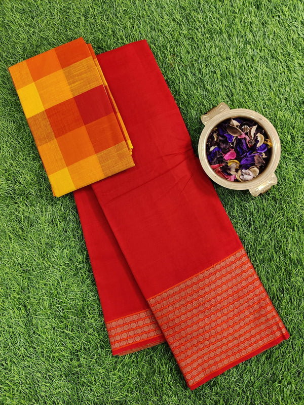 Narayanpet cotton saree red with cotton blouse