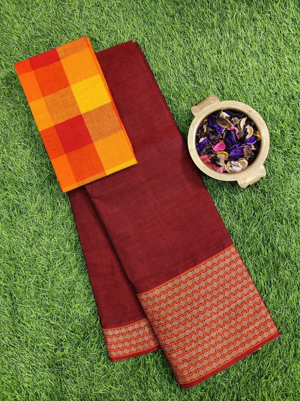 Narayanpet cotton saree maroon with cotton blouse