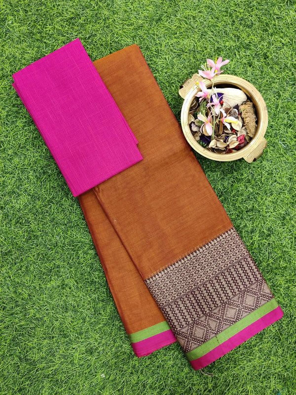 Narayanpet cotton saree rustic brown and pink with cotton blouse