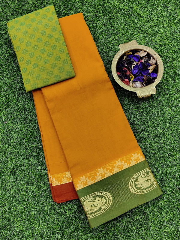 Narayanpet cotton saree yellow and green with cotton blouse