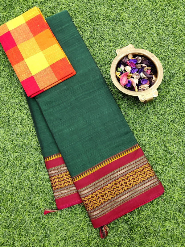 Narayanpet cotton saree green and maroon with cotton blouse
