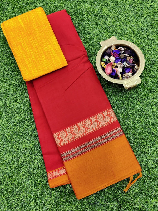 Narayanpet cotton saree red and mustard orange with cotton blouse