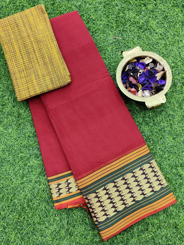 Narayanpet cotton saree red and green with cotton blouse