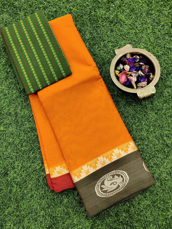 Narayanpet cotton saree orange and green with cotton blouse